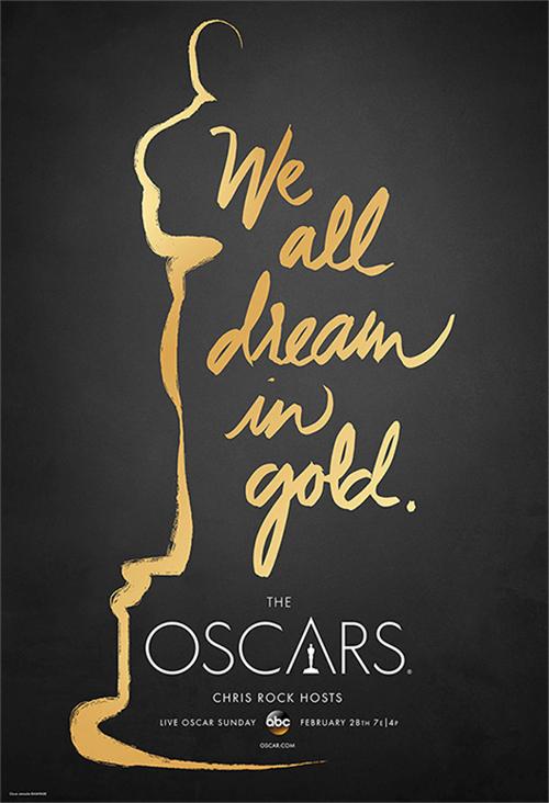 主海报中用金色的小金人轮廓和金色的手写字搭配